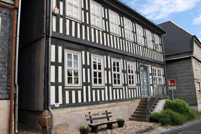 Ein Haus im historischen Thüringer Leiterfachwerk.